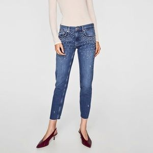 Zara pearl embellished boyfriend jeans